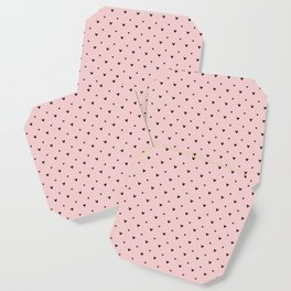 Small sketchy black hearts pattern on pink background Coaster