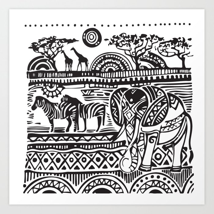 African Tribal Pattern No. 17 Art Print