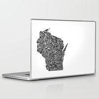 wisconsin Laptop & iPad Skins featuring Typographic Wisconsin by CAPow!