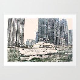 Boat Miami Beach Florida ArtWork Panting Art Print