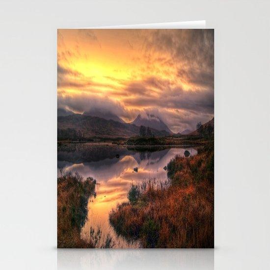 Golden Sunrise Over Loch Ba Stationery Cards