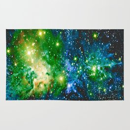 Fox Fur Nebula Teal Green Rug