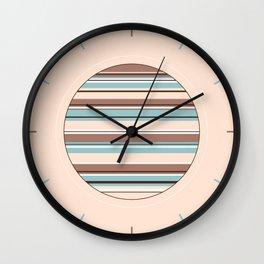 Mixed Striped Design Browns Blue Cream White Wall Clock