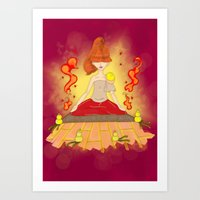 meditation Art Prints featuring Meditation by KeijKidz