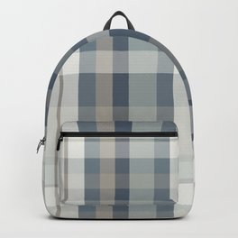 Retro Modern Plaid Pattern 2 in Neutral Blue Gray Backpack