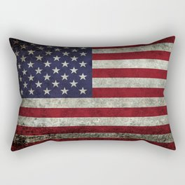 American Flag, Old Glory in dark worn grunge Rectangular Pillow