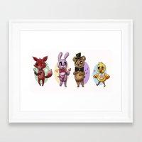 fnaf Framed Art Prints featuring FNAF Gang by msaibee
