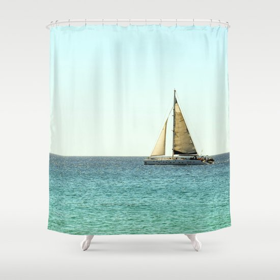 Sail Away with Me  Ocean, Sea, Blue Sky and Summer Sun Shower Curtain by Sta # Sunshower Blue_021322