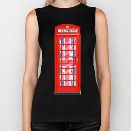 British Flair - Classic Red Telephone Box & Union Jack Biker Tank