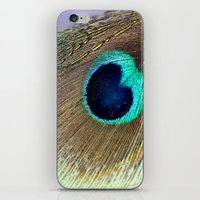 peacock feather iPhone & iPod Skins featuring Peacock feather by Hannah