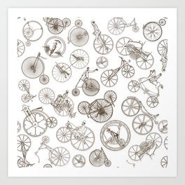 SteamPunk old Bike Patt Art Print