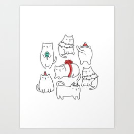 Fat Christmas cats Art Print
