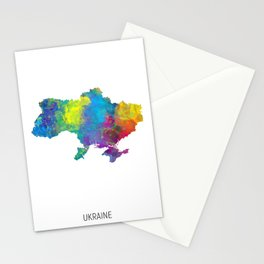 Ukraine Watercolor Map Stationery Cards