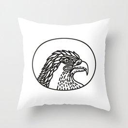 Eagle Head Side Mono Line Throw Pillow