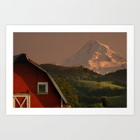 Barn and Mount Hood Art Print