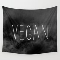 vegan Wall Tapestries featuring Vegan - Veganism by Be Kindly