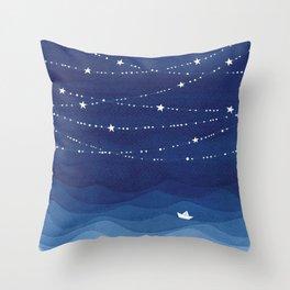 night sky, ocean painting Throw Pillow