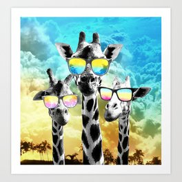 Crazy Cool Giraffe Art Print