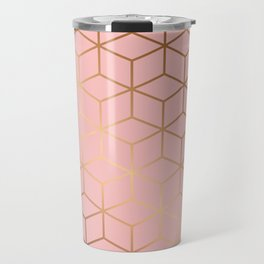 Pink and Gold Geometry 011 Travel Mug