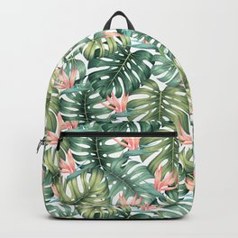 Tropical monstera / Bird of Paradise Backpack