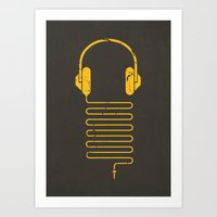 deadmau5 Art Prints featuring Gold Headphones by Sitchko Igor