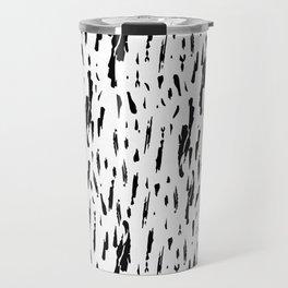 Seattle Rain Black Ink on White Travel Mug