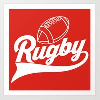 rugby Art Prints featuring RUGBY by solomnikov