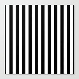 Black and White Even Small Stripes Canvas Print