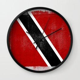 Trinidad and Tobago Distressed Halftone Denim Flag Wall Clock