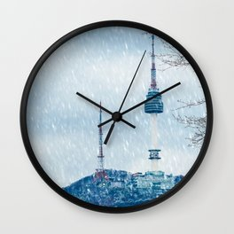 Seoul Tower - Winter Wall Clock