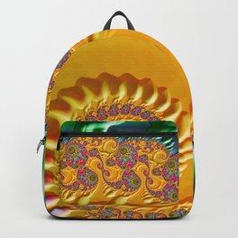 Blue Green Gold Abstract Fractal Modern Art Backpack