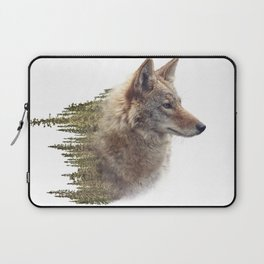 Double exposure of coyote portrait and pine forest on white background Laptop Sleeve