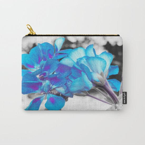Turquoise Flowers Carry-All Pouch