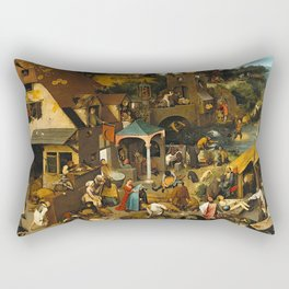 Pieter Bruegel the Elder Netherlandish Proverbs Painting Rectangular Pillow