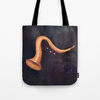 trumpet Tote Bags featuring Trumpet by Josep Mestres