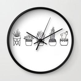 Cacti Line Drawing Wall Clock