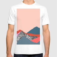 Graphic Mountains Mens Fitted Tee MEDIUM White