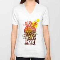 honeycomb V-neck T-shirts featuring The Honeycomb by minniemorrisart