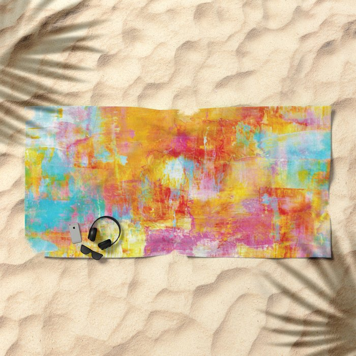 OFF THE GRID Colorful Pastel Neon Abstract Watercolor Acrylic Textural Art Painting Nature Rainbow  Beach Towel