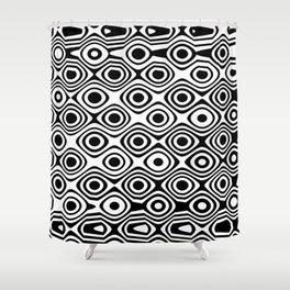 Asymmetry collection: abstract black and white circles Shower Curtain