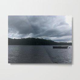 Sailboat on Stormy Lake Metal Print