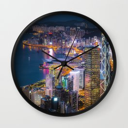 City at Night Wall Clock