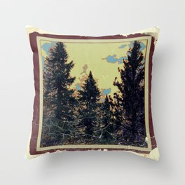 SHABBY CHIC ANTIQUE PHOTO PINE TREES ART Throw Pillow