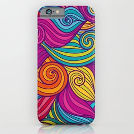 Vivid Whimsical Jewel Tone Retro Wave Print Pattern iPhone Case