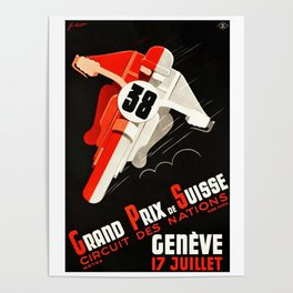Grand Prix Suisse, Motorcycle Poster, Motorcycle Race, Vintage Poster Poster