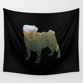Flowered Pug Silhouette Wall Tapestry