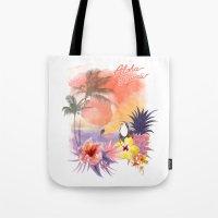 aloha Tote Bags featuring aloha by ulas okuyucu