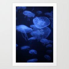 Jellyfish Glowing in Blacklight Photo Print 2 Art Print