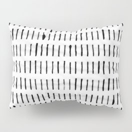 Black Ink Woodstock Pattern on White Pillow Sham