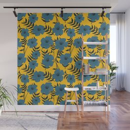 Blue Flowers with Banana Leaves with Yellow Wall Mural